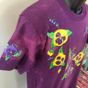 Vintage Shirts - 80s Pansy Flower Shirt Hand Made Graphic Art